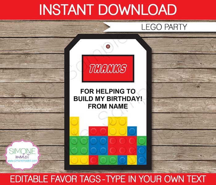 printable name tags for birthday party ; Lego-thank-you-favor-tag