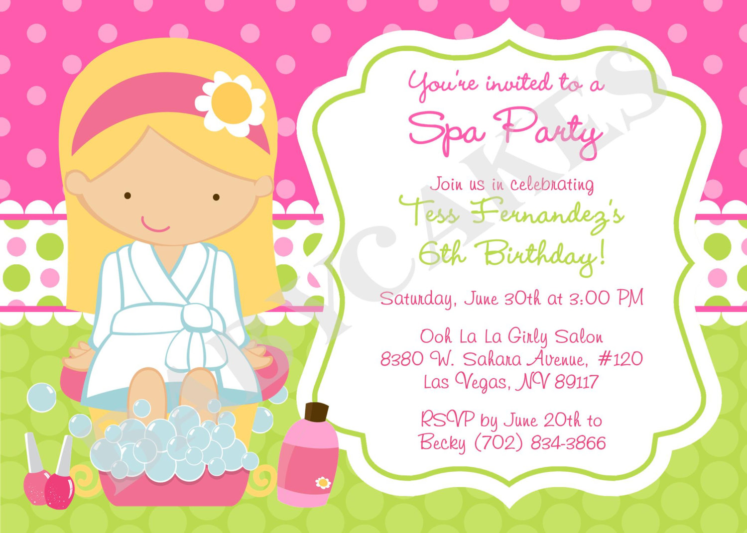 spa themed birthday party invitations printable ; 09be017aad81a6ddca358ef3f1152e62