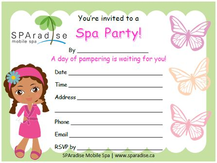 spa themed birthday party invitations printable ; 4f40a09982e56463870b2f7af7770786--pamper-party-sleepover-party
