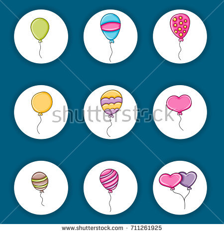sticker design for birthday ; stock-vector-balloons-birthday-and-celebration-icons-concept-cartoon-doodles-sticker-design-hand-drawn-711261925