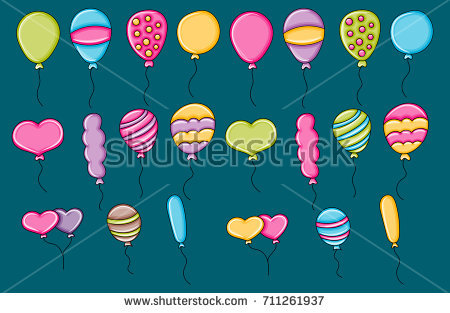 sticker design for birthday ; stock-vector-balloons-birthday-and-celebration-icons-concept-cartoon-doodles-sticker-design-hand-drawn-711261937