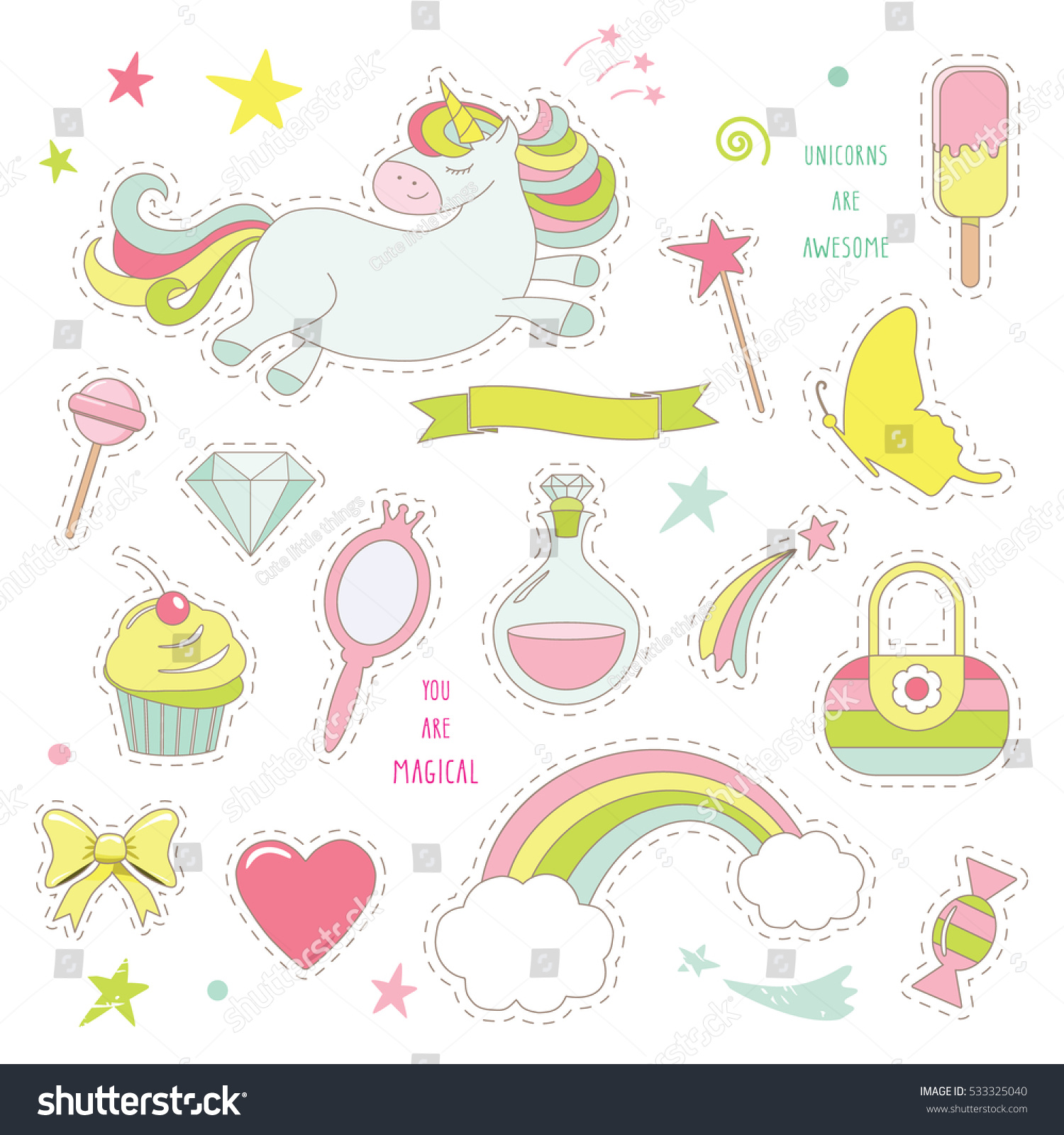 sticker design for birthday ; stock-vector-unicorn-magic-set-for-kids-cute-stickers-collection-for-birthday-or-scrapbook-design-isolated-on-533325040