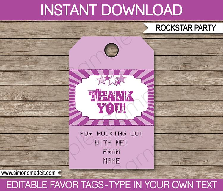 thank you birthday tags template ; Rock-Star-party-favor-tags-purple
