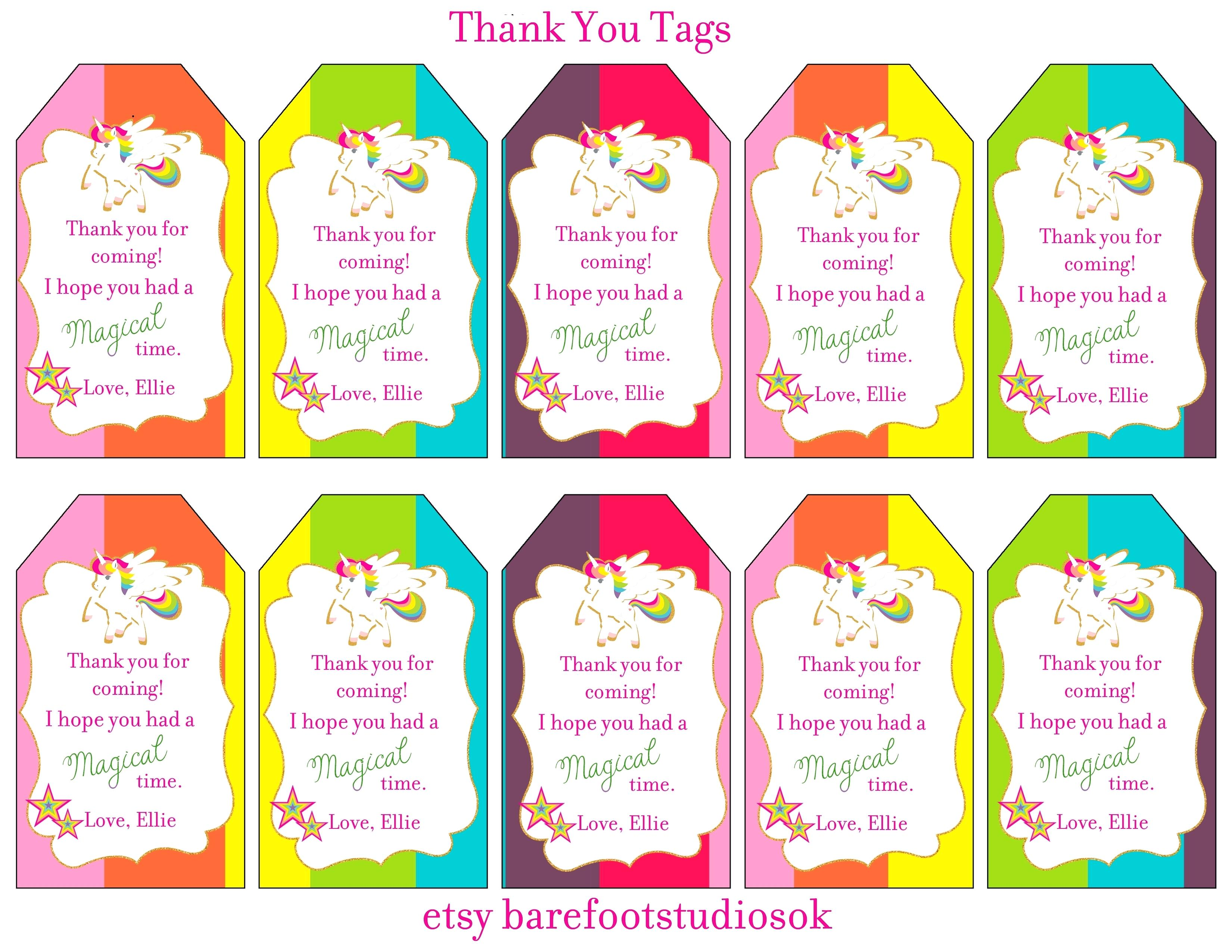thank you birthday tags template ; thank-you-for-coming-to-my-party-template-rainbow-unicorn-birthday-banner-glitter-tags-cupcake-wrapper-decor-toppers-powerpoint-ep