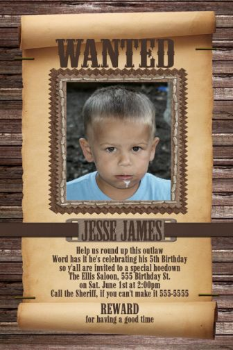 wanted poster birthday invitations ; WANTED_BOY_02