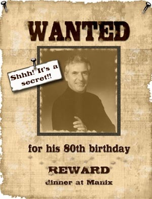 wanted poster birthday invitations ; large