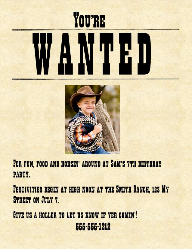 wanted poster birthday invitations ; wanted-poster