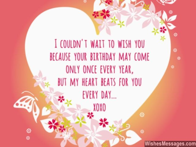 wish you happy birthday message ; Sweet-birthday-wish-in-advance-for-him-her-heart-beats-for-you-640x480