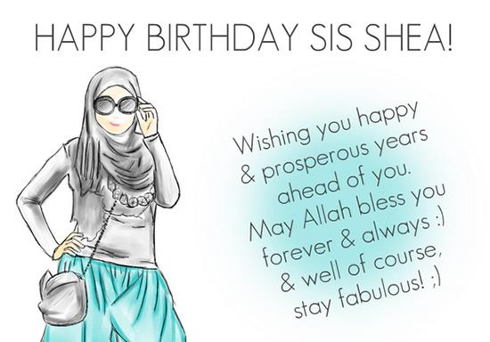 wish you happy birthday message ; islamic-birthday-wishes-for-sister