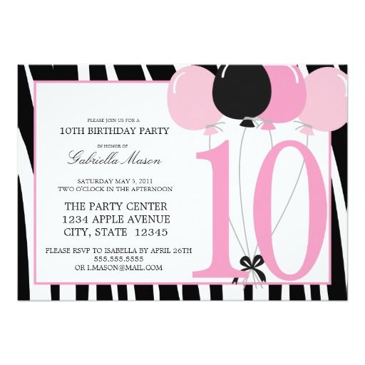 10th birthday invitation quotes ; 49-best-10th-birthday-party-invitations-images-on-pinterest-pink-10th-birthday-invitations-1