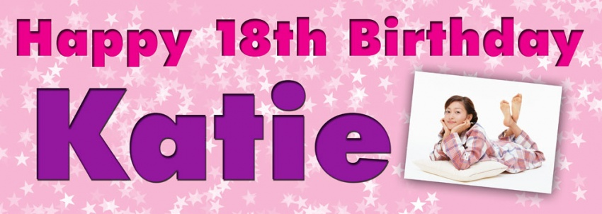 18th birthday banners personalized with photo ; EB27-multistarbackground