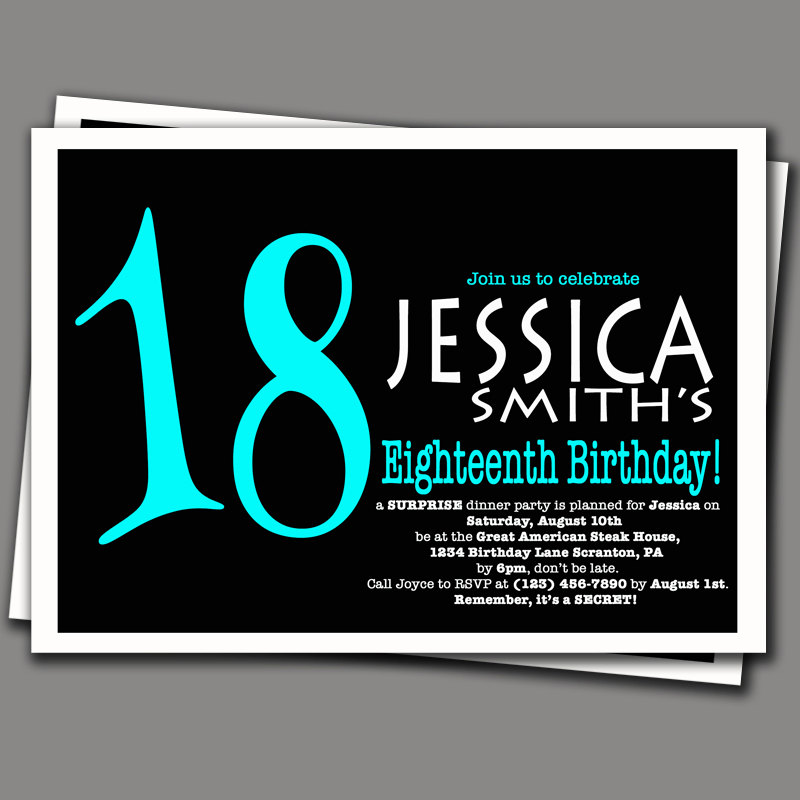 18th birthday invitation cards printable ; birthday-surprise-18th-birthday-invitation-square-card-with-aqua-color-and-black-background-by-purplechicklet