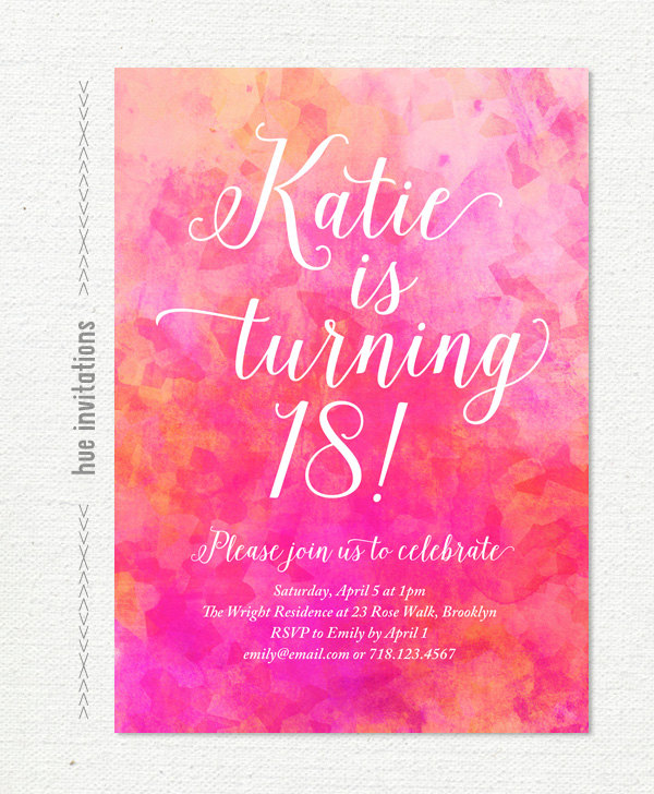 18th birthday invitation cards printable ; pink-watercolor-18th-birthday-party-invitation-pink-coral-18-birthday-invitation