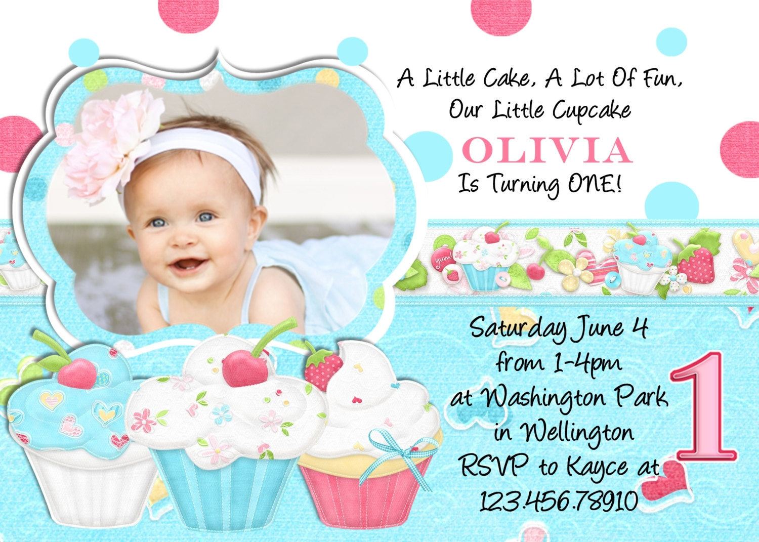 1st birthday card invitation designs free ; free_printable_card_blue_and_white_background_your_daughter_photo_in_unique_frame_decorated_with_sweet_cupcakes_picture_and_black_coloured_text_0