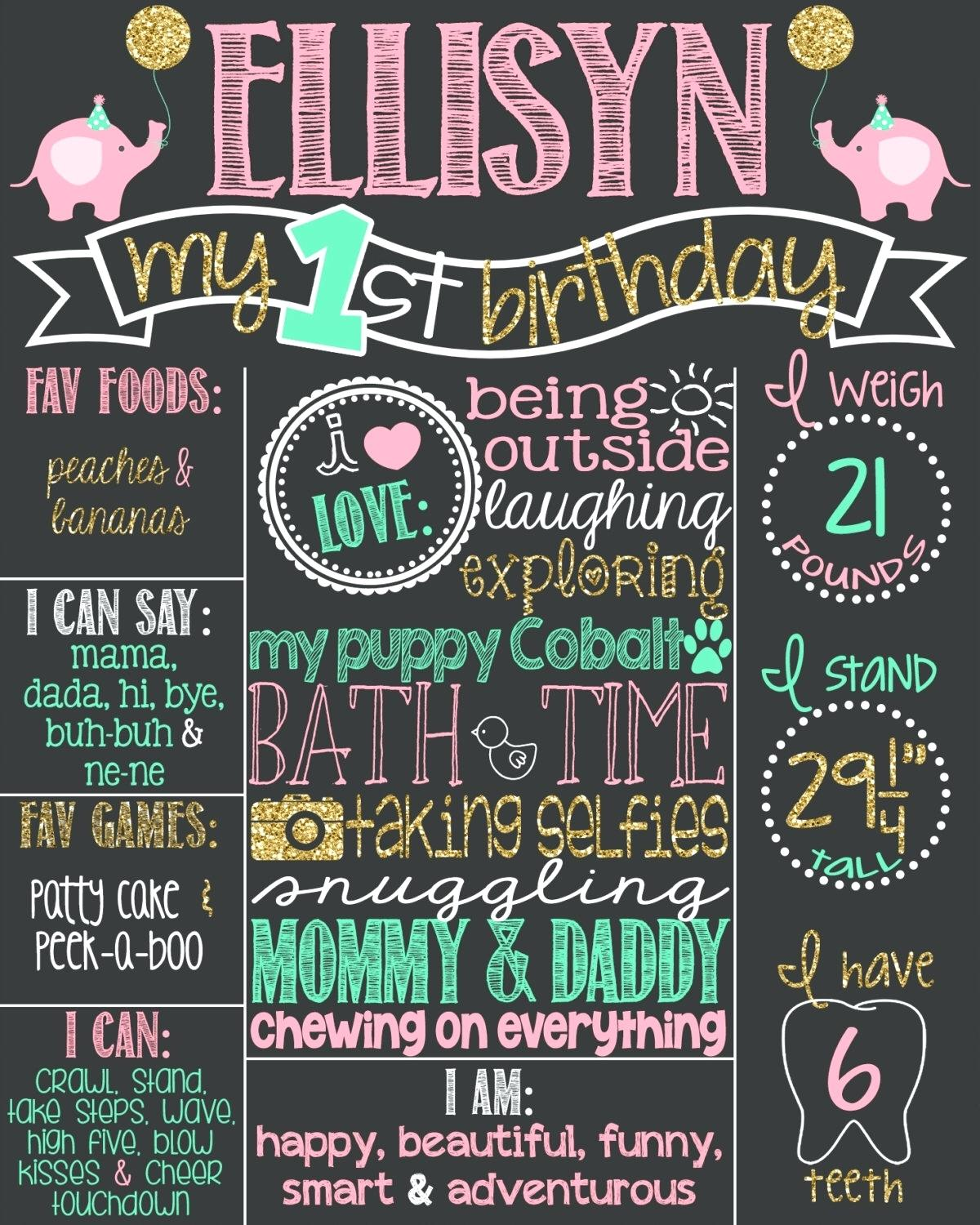 1st birthday chalkboard poster template ; 1st-birthday-chalkboard-poster-template-pink-flamingo-first-girl-chalk-board-theme-and-teal-diy-tem