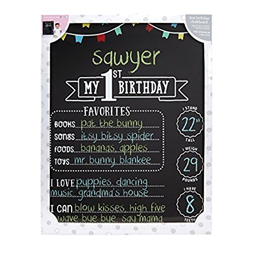 1st birthday chalkboard poster template ; 51PTI2MmYZL