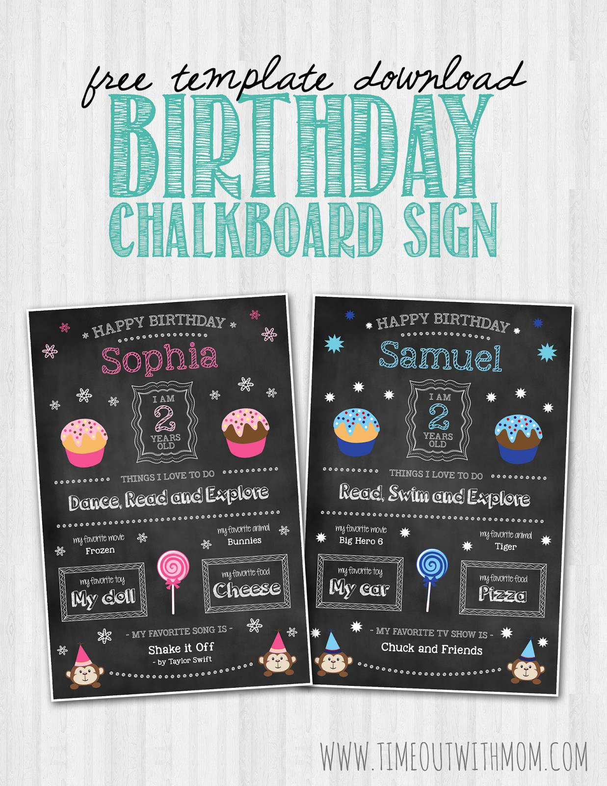 1st birthday chalkboard poster template ; Header_Image