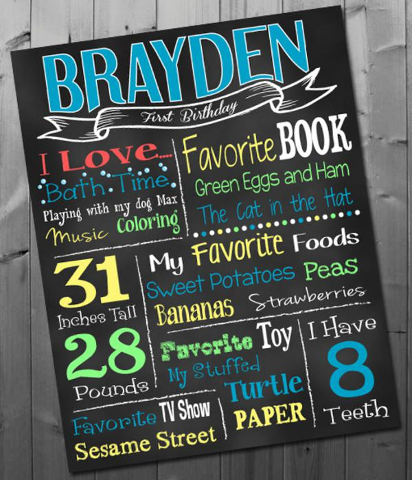 1st birthday chalkboard poster template ; Sign7_600x698