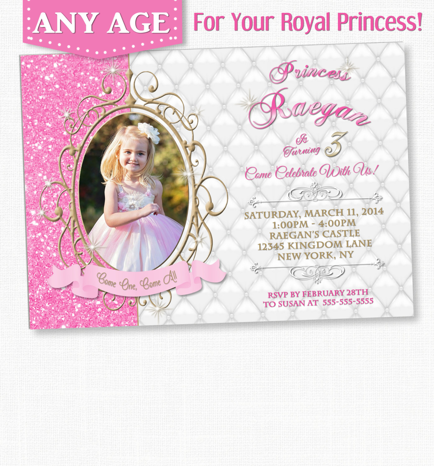 1st Birthday Invitation Princess Theme And