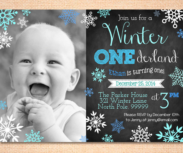 1st birthday invitation templates photoshop ; Boys-Winter-Onederland-Invitation