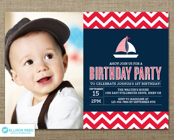 1st birthday invitation templates photoshop ; Nautical-Birthday-Invitation