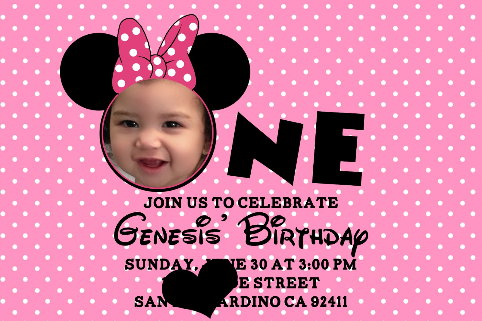 1st birthday invitation templates photoshop ; One-Printable-Minnie-Mouse-Birthday-Invitations