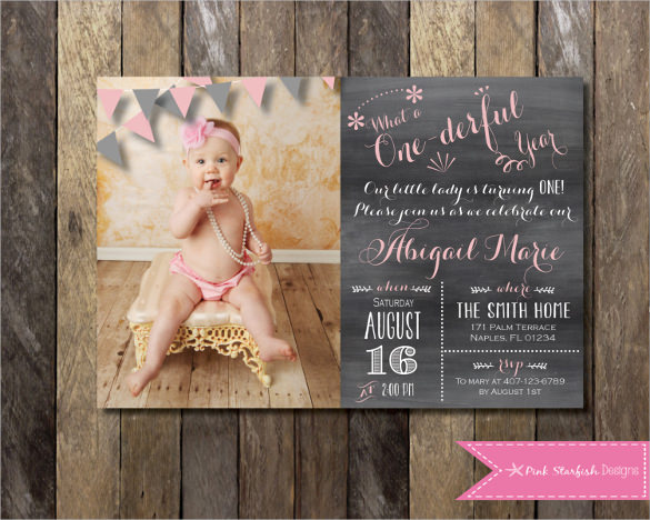 1st birthday invitations templates with photo free ; Creative-and-beautiful-First-Birthday-Invitation-with-Picture