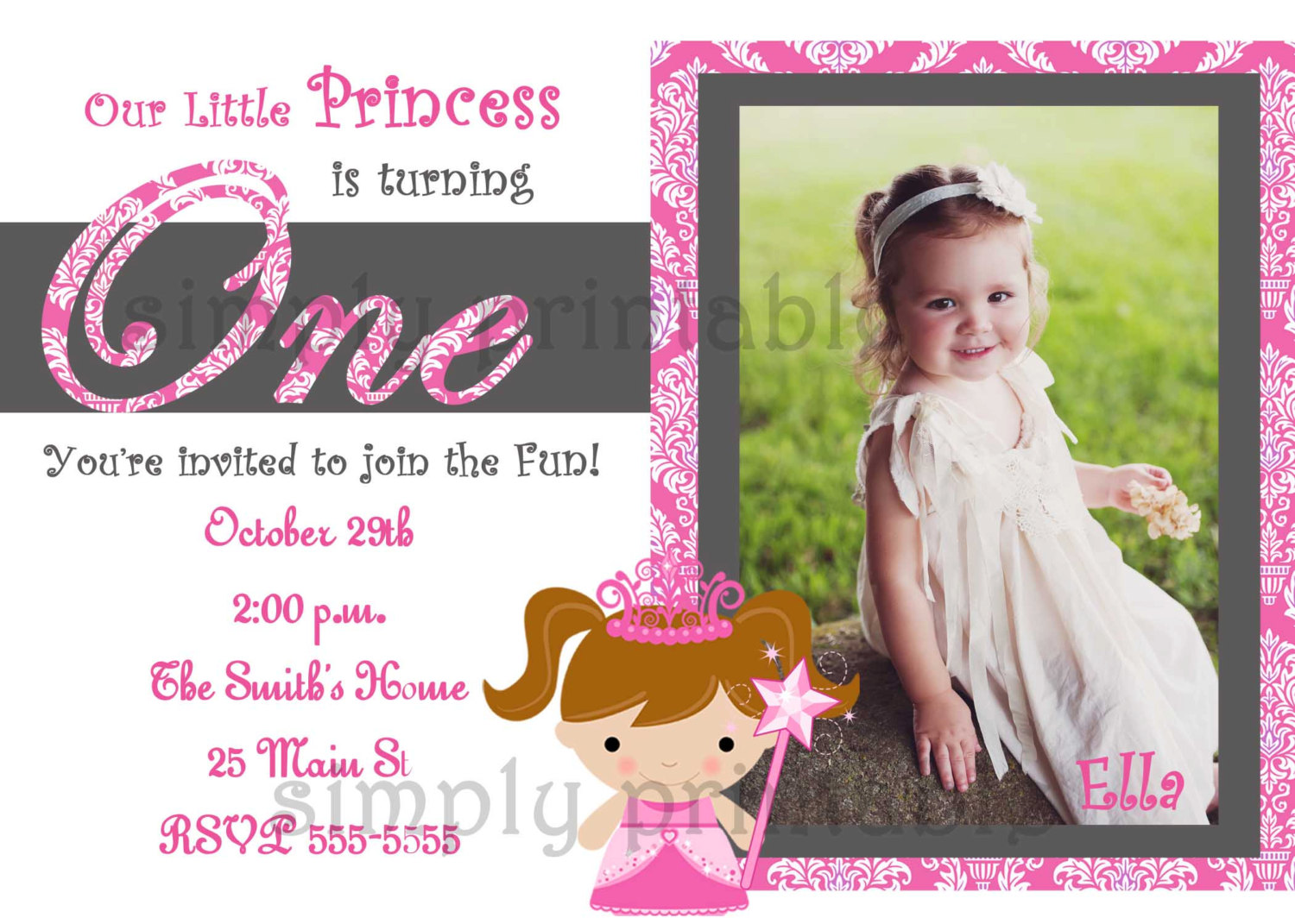 1st birthday party invitation card template free ; 1st-birthday-invitations-girl-princess-1st-birthday-party-invitations-girls-with-photo-baby-children-celebrate