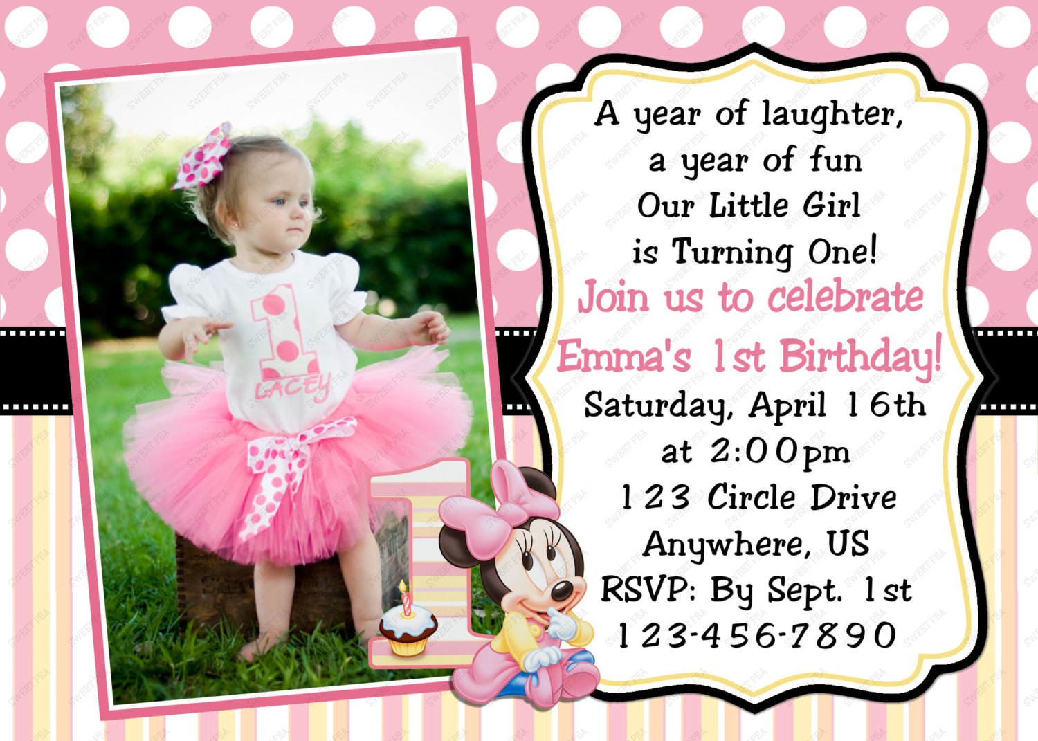 1st birthday party invitation card template free ; Comely-Minnie-Mouse-First-Birthday-Invitations-For-Additional-Birthday-Invitation-Wording