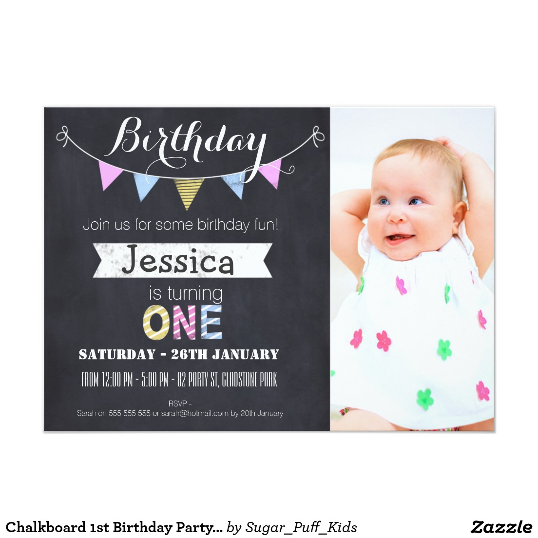 1st birthday photo invitations ; first-birthday-party-invitations-girls-1st-birthday-invitation-chevron-chalkboard-cards-invite-baby-girl-with-photo-design-ideas