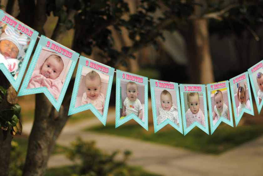 1st year birthday photo banner ; a4abacf07c716e0af35c9463cd3347ae