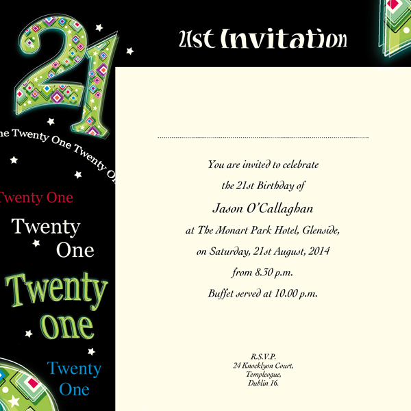 21st birthday invitation card design ; 869