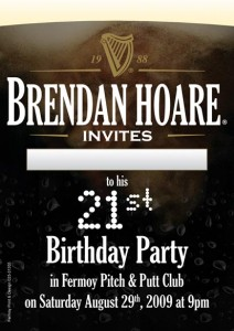 21st birthday invitation card design ; brendan-hoare-21st-invite-212x300