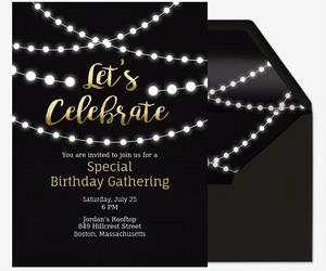 21st birthday invitation card design ; string-lights_birthday_milestones