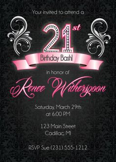 21st birthday invitation card templates free ; 21st-birthday-party-invitations-And-the-model-of-Birthday-Invitations-unique-zauberhaft-modern-ideas-7