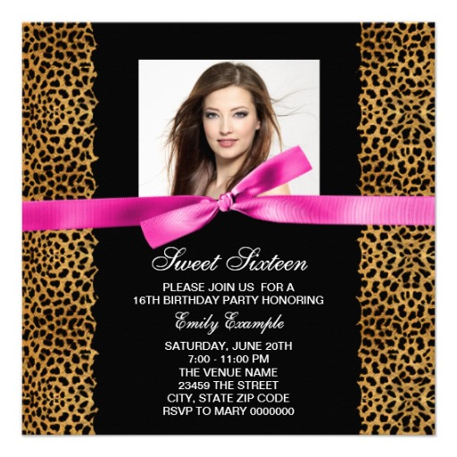 21st birthday invitation templates photoshop ; Leopard-Sweet-16-Birthday-Invitations-Templates