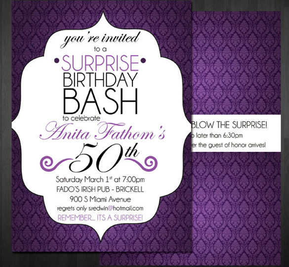 21st birthday invitation templates photoshop ; Surprise-Black-and-Purple-Birthday-Invitation
