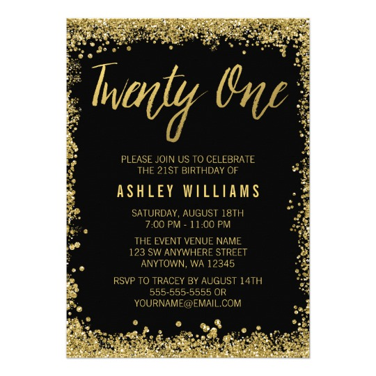 21st birthday photo invitation templates ; 21-invitation-template-sparkling-gold