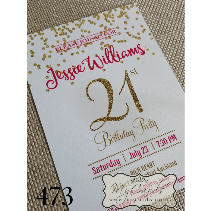 21st birthday photo invitations designs ; gold-confetti-birthday-invitation-pink-21st-auckland-nz-MYCARDS-473