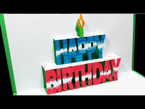 3d birthday card template free printable ; hqdefault