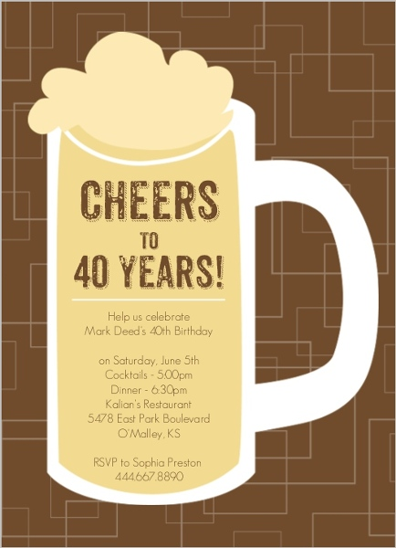 40th birthday invitation cards designs ; brown-beers-cheers-40th-birthday-invitation_2755_1_large