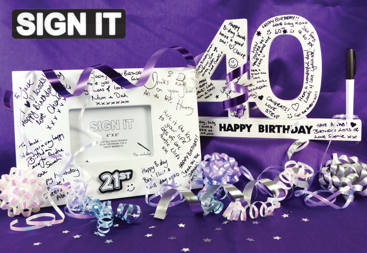 40th birthday signature photo frame ; Sign_It_Signature_Frames_and_Numbers