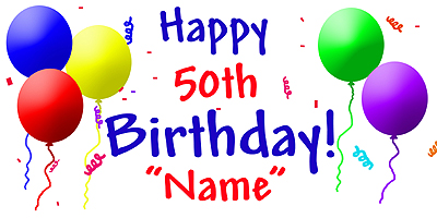 50th birthday banners with photo ; 50TH-BANNER
