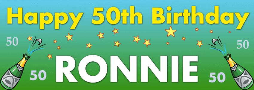 50th birthday banners with photo ; BB25-champagnebirthday