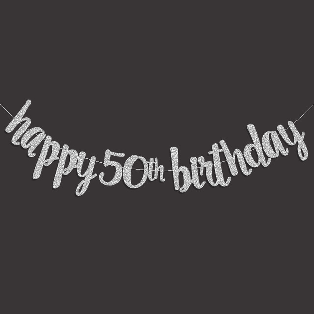 50th birthday banners with photo ; Gold-Black-Silver-Glitter-Happy-50th-Birthday-Banner-Popular-Fifty-Anniversary-Party-Decor-50-Birthday-Party