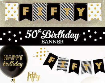 50th birthday banners with photo ; f952d02b23efb0751eafea68f9fd72db