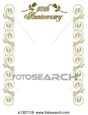 50th birthday border clip art ; 50th-anniversary-invitation-border-stock-illustration__k1327118