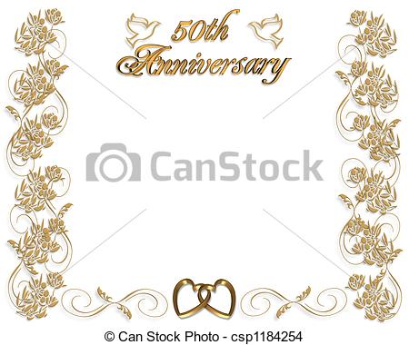 50th birthday border clip art ; 50th-wedding-anniversary-drawing_csp1184254