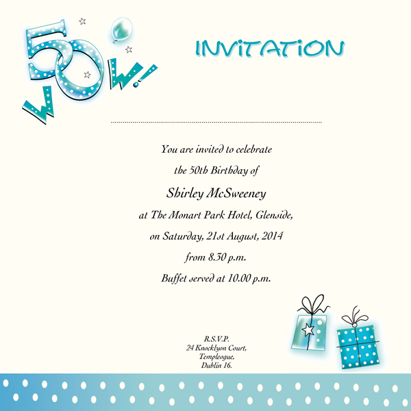 50th birthday invitation card designs ; 881