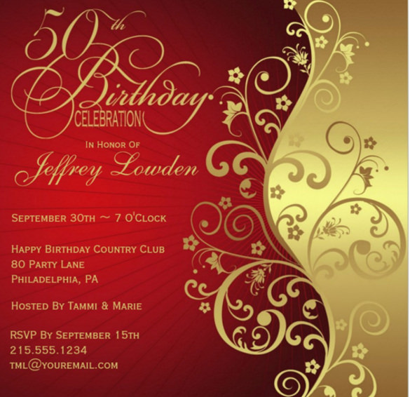 50th birthday invitation card designs ; Red-and-Gold-50th-Birthday-Party-Invitation